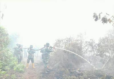 Tim pemadam Karhutla Dumai tengah memadamkan kebakaran lahan di Jalan Rimbun Jaya Kelurahan Lubuk Gaung Kecamatan Sungai Sembilan. FOTO: BPBD Dumai
