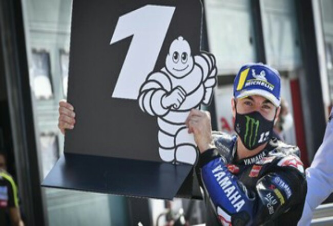 Maverick Vinales menjadi yang tercepat pada kualifikasi MotoGP Emilia Romagna. Foto: CNNIndonesia