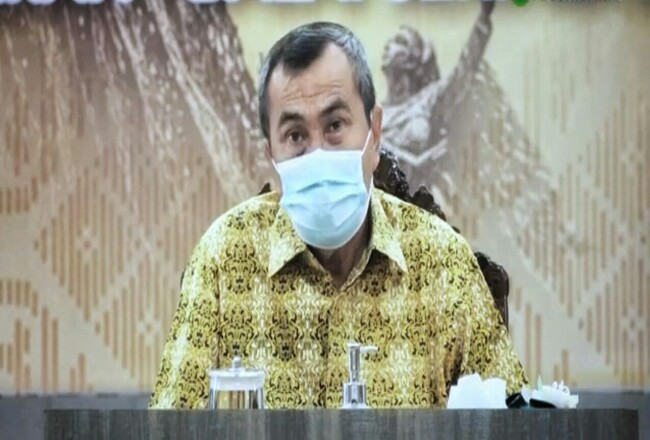 Gubernur Riau Syamsyar saat Webinar.