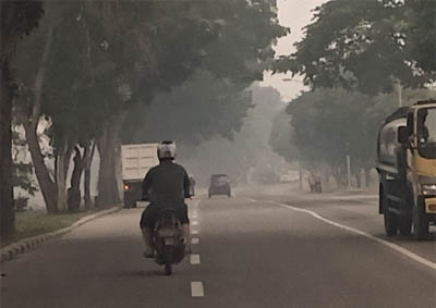 Kabut asap pekat di Dumai.