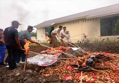 BKP Kelas I Pekanbaru wilayah kerja Dumai musnahkan bawang Bombay asal Malaysia.