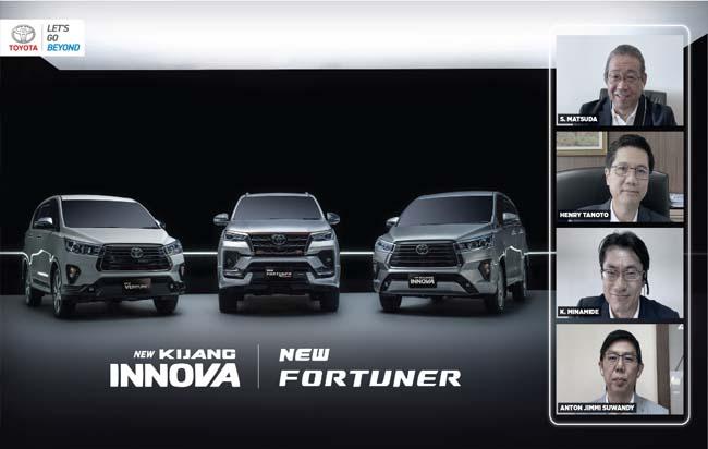 PT Toyota-Astra Motor (TAM) dengan tetap menjaga protokol keselamatan dan kesehatan pandemi Covid-19, merilis kehadiran New Fortuner dan New Innova sebagai high SUV dan medium MPV yang menjadi market leader di segmennya masing-masing melalui virtual launch  di Jakarta, Kamis (15/10/2020).
