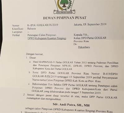 Surat Keputusan tentang penunjukan Andi Putra sebagai Ketua DPRD Kuansing oleh Partai Golkar