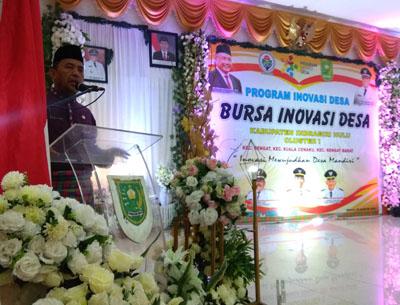 Program Bursa Inovasi Desa Cluster I dengan Tema Inovasi Mewujudkan Desa Mandiri, Selasa (6/8/2019) pagi di Gedung Dang Purnama Rengat.