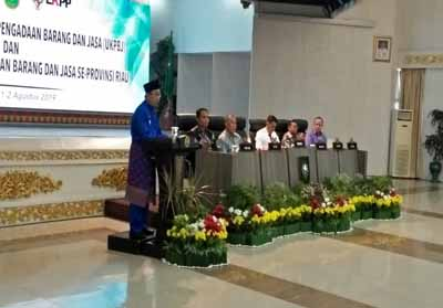 Gubri saat Rakor UKPBJ dan Evaluasi Pelaksanaan Pengadaan Barang dan Jasa se-Provinsi Riau