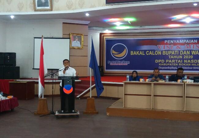Visi dan misi yang disampaikan kandidat Bakal Calon Bupati Rohil di Partai Nasdem.