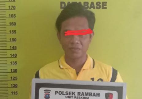 Pelaku penganiayan dengan gergaji kayu Af alias AO, warga Menaming Kecamatan Rambah ditangkap polisi setelah dipergoki mencuri pisang