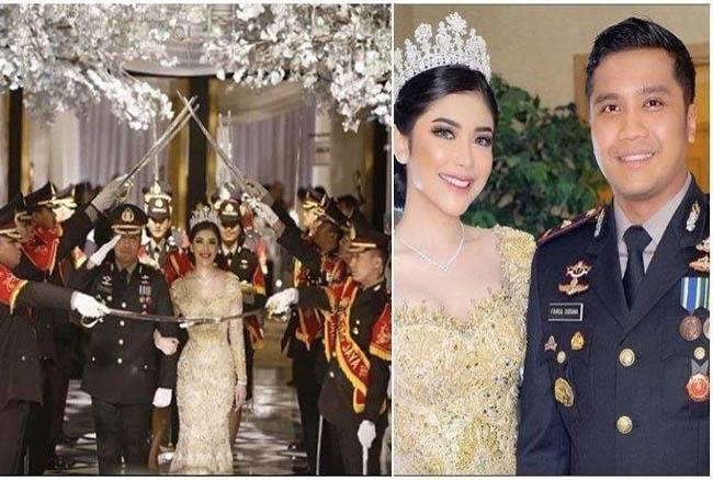 Kolase pesta Kapolsek Kembangan Kompol Fahrul Sudiana dan sang istri.
