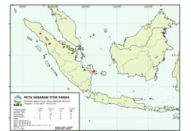 Sebaran titik panas hari ini. Di Riau terpantau 18 titik.