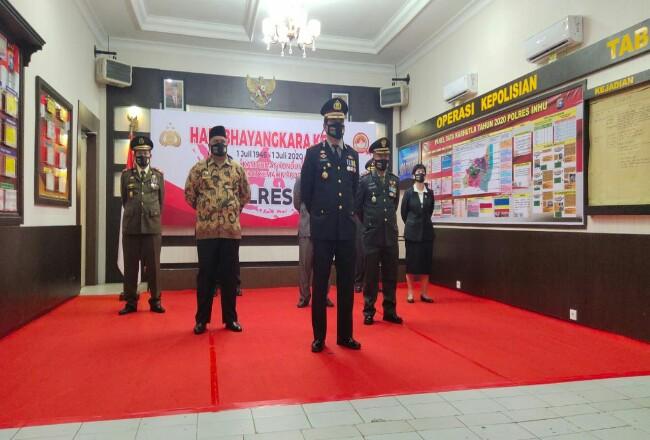 Polres Inhu gelar upacara peringatan HUT ke-74 Bhayangkara.