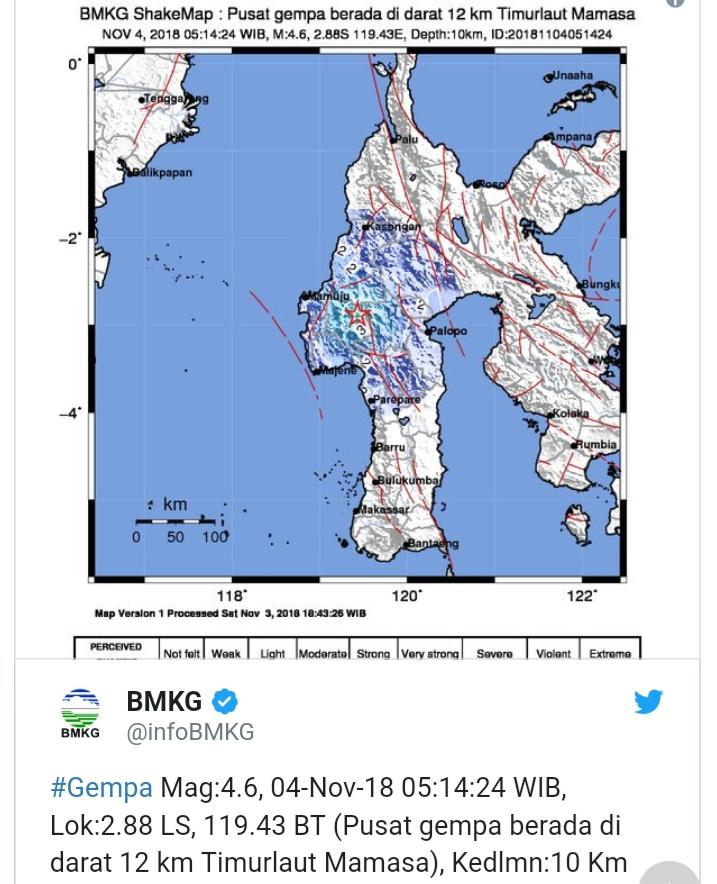 Lokasi gempa di Mamasa.