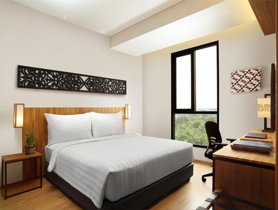 Interior salah satu tipe kamar di Hotel Batiqa Pekanbaru