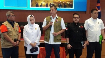 Konferensi pers mengenai kebakaran hutan yang terjadi di beberapa daerah pada Sabtu (14/9/2019) di Graha BNPB, Jakarta Timur