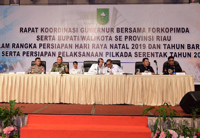 Rapat Koordinasi (Rakor) Gubernur bersama Forkopimda dan Bupati/Walikota se-Riau