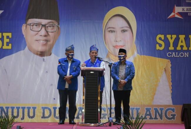 Ketua DPD Partai Demokrat Riau Asri Auzar membuka Rakorcab Partai Demokrat Kota Dumai.