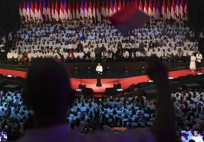 Presiden terpilih Joko Widodo menyampaikan pidato pada Visi Indonesia di Sentul International Convention Center, Bogor, Jawa Barat Minggu (14/7/2019).