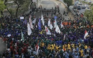 Ilustrasi aksi demonstrasi mahasiswa.