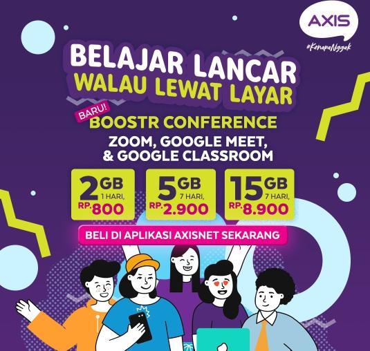 AXIS berinovasi menghadirkan paket Boostr Edukasi dan Boostr Conference guna memenuhi kebutuhan belajar di rumah.
