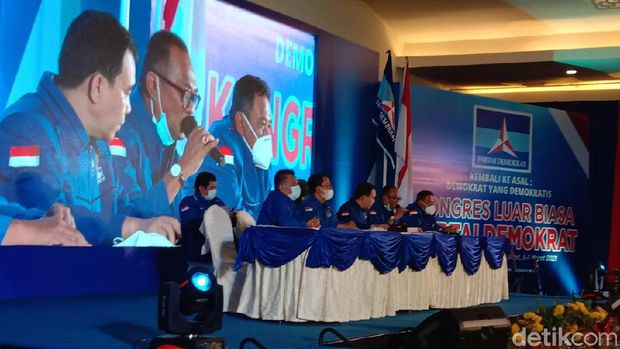 Suasana sidang di KLB Partai Demokrat di The Hill Hotel and Resort Deli Serdang, Sumut.