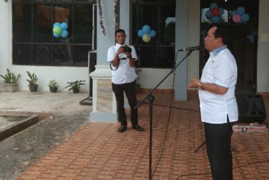 Bupati Rohul H. Sukiman beri sambutan saat pisah sambut Kepala Dinas Pengendalian Penduduk dan Keluarga Berencana (DPPKB) Rokan Hulu (Rohul) Yulisman SS M.Si