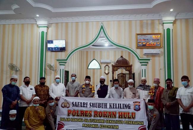 Kapolres, beri imbauan ke jemaah MasjidAl - Muhajirin Pasir Pengaraian, Kecamatan Rambah saat Suling.