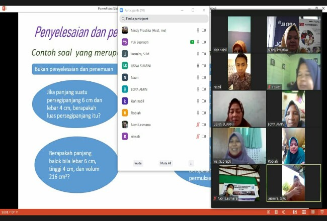 Suasana Pelatihan Program School Improvement yang diadakan secara online oleh Community Development PT RAPP.