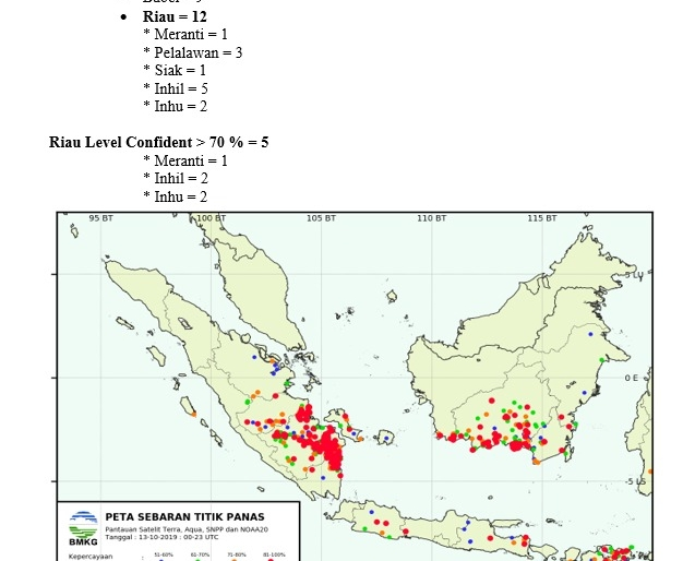 Pada Level Confidence 50 persen, di Riau terpantau ada 12 titik panas (hotspot).
