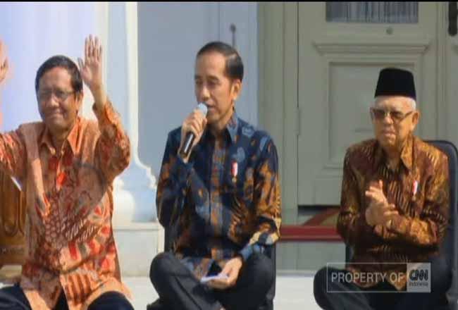 Presiden Jokowi saat mengumumkan Menteri di Kabinet Indonesia Maju.