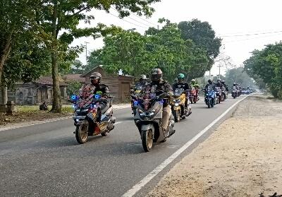 Peserta Touring Yamaha Maxi menuju Kuansing.