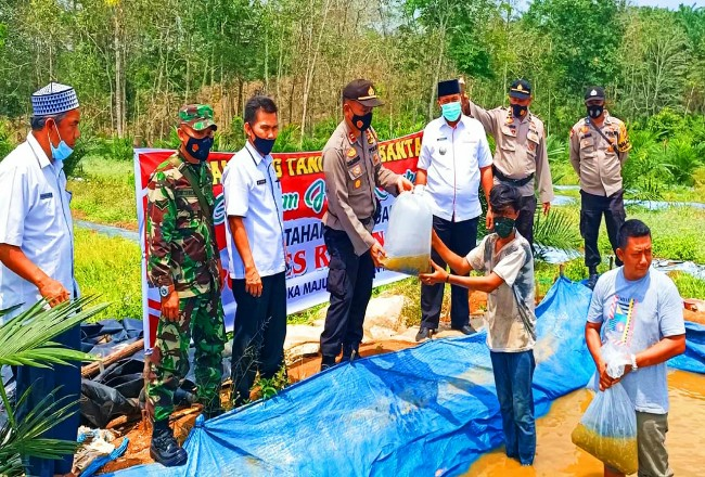 Kapolsek Rambah bersama Camat dan Danramil 02/ Rambah, beri bantuan bibit ikan nila dan semangka dalam mewujudkan kampung Tangguh di Desa Sukamaju, Rambah.
