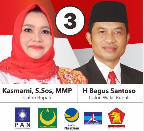 Pasangan Kasmarni KBS didukung koalisi gemuk lima Parpol PAN, Gerindra, Nasdem, Demokrat dan PBB.
