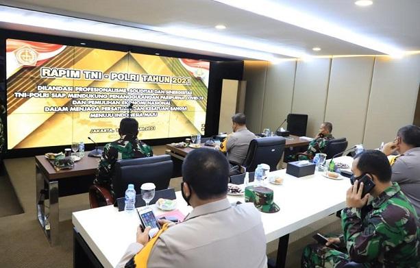 Rapim TNI/Polri Tahun 2021 secara virtual di Markas Komando Polda Riau