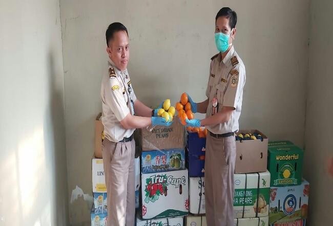 Kepala Seksi Pengawasan dan Penindakan Barantan Kelas I Pekanbaru, Ferdi saat memperlihatkan buah-buahan ilegal yang ditahan pada, Kamis (20/2/2020).
