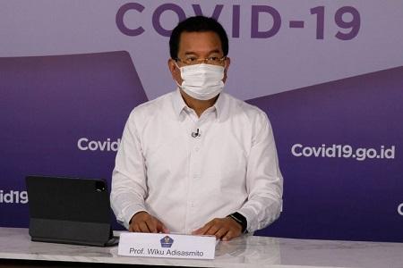 Juru Bicara Satuan Tugas Penanganan Covid-19 Wiku Adisasmito saat memberikan keterangan pers, Kamis (15/4/2021).(Dok. BNPB).