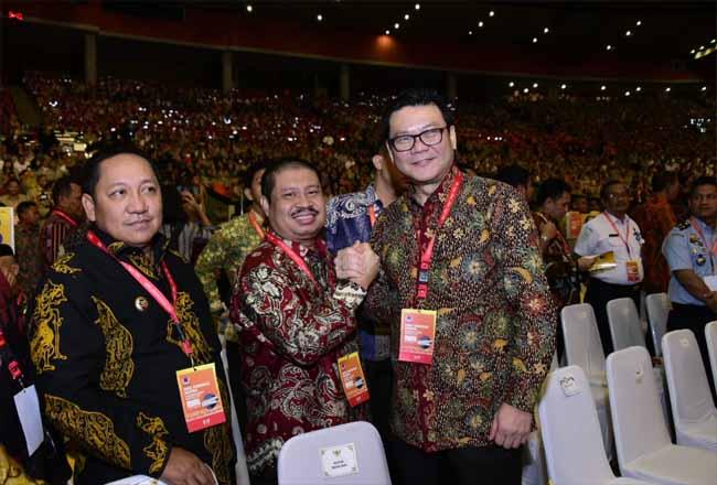 Bupati Amril Mukminin saat menghadiri Rapat Koordinasi Nasional Penanggulangan Bencana, di Sentul Convention Center, Bogor, Jawa Barat, Selasa (4/2/020).
