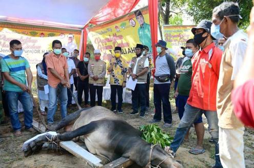 Penyembelihan hewan kurban dari Jenderal TNI Moeldoko di Kediaman Rusli Ahmad, Kecamatan Rumbai Pesisir Pekanbaru, Minggu (2/8/2020).