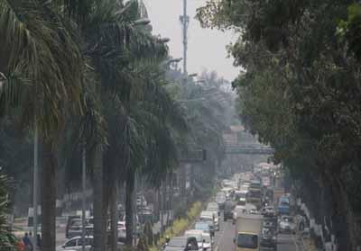 Kabut asap di Riau.