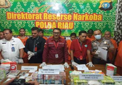Barang bukti yang berhasil diamankan Polda Riau.
