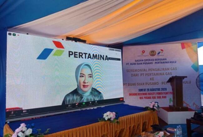 Dirut PT Pertamina Nicke Widyawati saat peresmian pengaliran gas ke pembangkit listrik Badan Operasional Bersama (BOB) PT Bumi Siak Pusako di Kabupaten Siak, Riau, Jumat (28/8/2020). Foto: Antara