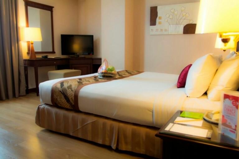 Salah satu desain kamar yang sedang promo di Hotel Grand Zuri Pekanbaru, Rabu (20/9).