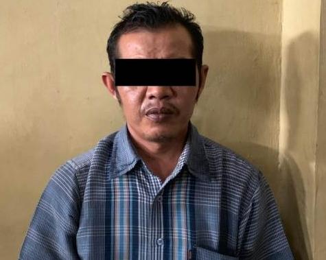 Tersangka diduga pelaku pencabulan bocah 12 tahun yang sudah diamankan polisi.