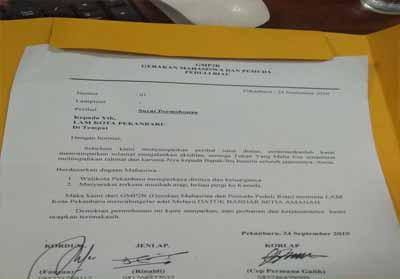 Surat yang ditujukan kepada LAM Pekanbaru.