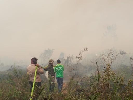 Tampak tim memadamkan api di lokasi lahan terbakar.