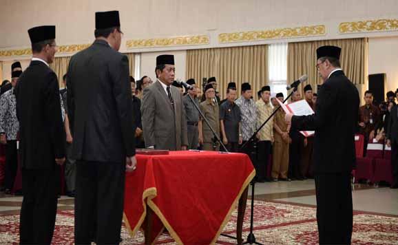 Pelantikan Yan Prana Jaya Indra Rasyid sebagai Sekretaris Daerah Provinsi Riau, Jumat (22/11/2019) siang di Balai Serindit, Pekanbaru.
