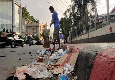 Situasi di Jayapura pada Jumat pagi ini.