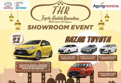 Agung Toyota SM Amin hadirkan program Toyota Hadiah Lebaran (THR) dan Bazar Toyota.