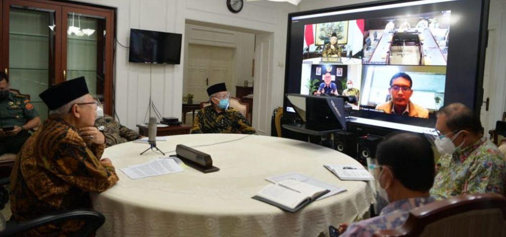 Wapres KH Ma'ruf Amin menerima Dewan Direksi PT Bank Riau Kepri melalui konferensi video, Rabu (21/4/2021).