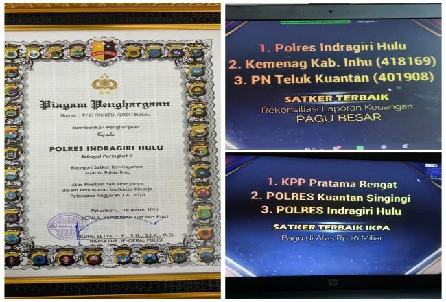 Tiga penghargaan diterima Polres Inhu.