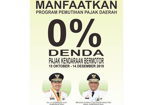 Pemprov Riau memberlakukan penghapusan denda pajak dan bea balik nama kendaraan bermotor (BBNKB).