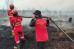 Tim gabungan berjibaku memadamkan Kebakaran hutan dan lahan (Karhutla) di Simpang Dinamit, RT. 03/RW. 01, Desa Tasik Serai, Kecamatan Talang Muandau, Kabupaten Bengkalis, Riau. (Foto BBKSDA Riau)